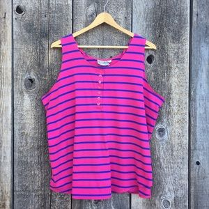 VTG 80s-90s Magenta Striped Tank Top